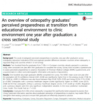 Osteopathy in Europe. An overview of graduates' preparedness